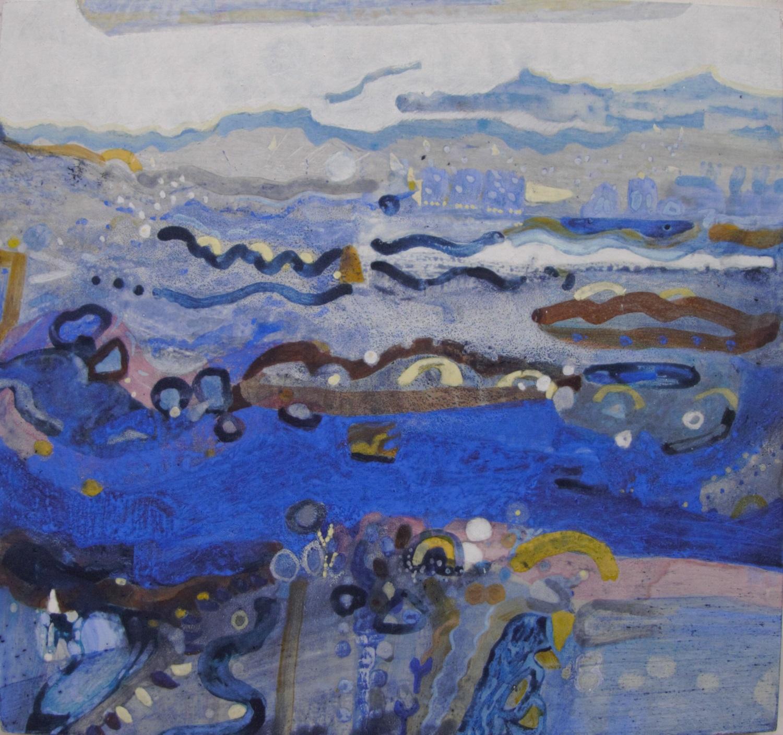 Schilderij in ei-tempera met de titel 'Bij Moddergat'