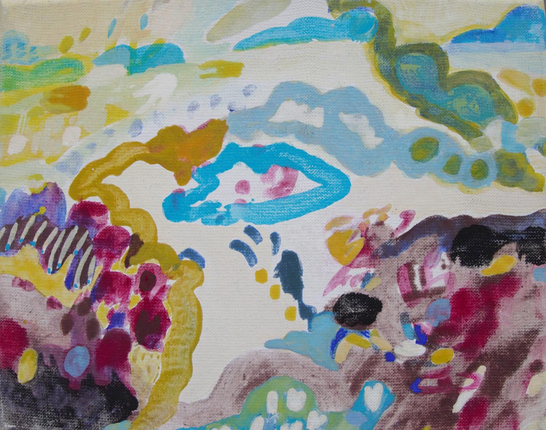 Schilderij in ei-tempera met de titel 'Duinen' - Ilse Brul