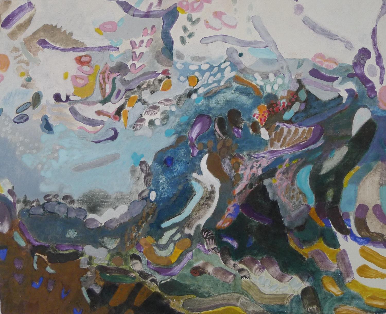 Schilderij in ei-tempera met de titel Improvisatie Slootje
