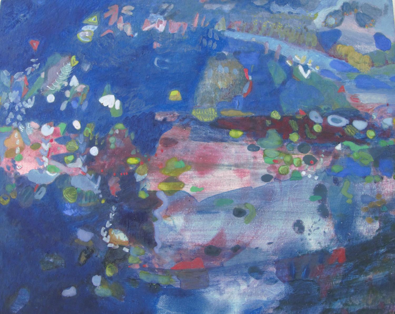 Schilderij in ei-tempera met de titel 'Improvisatie' door Ilse Brul