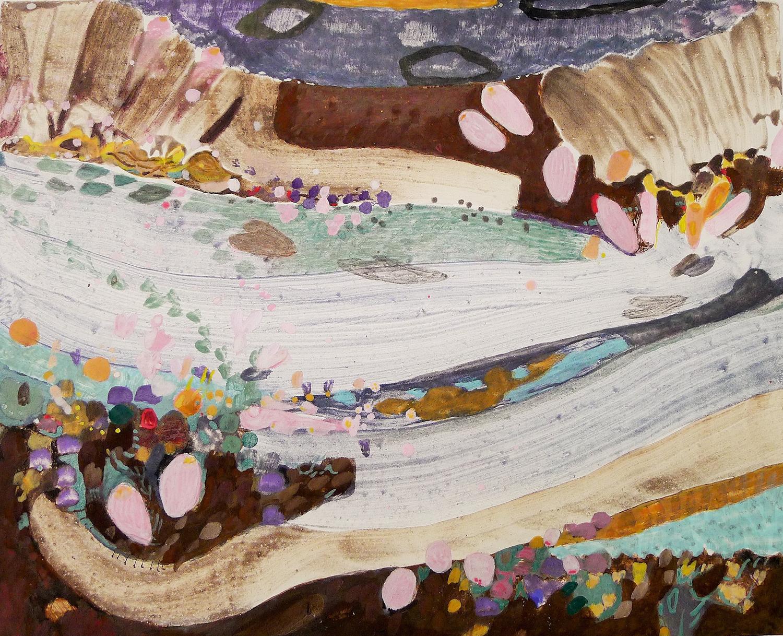 Schilderij in eitempera met de titel 'Improvisatie (op slootje J.M.)' door Ilse Brul