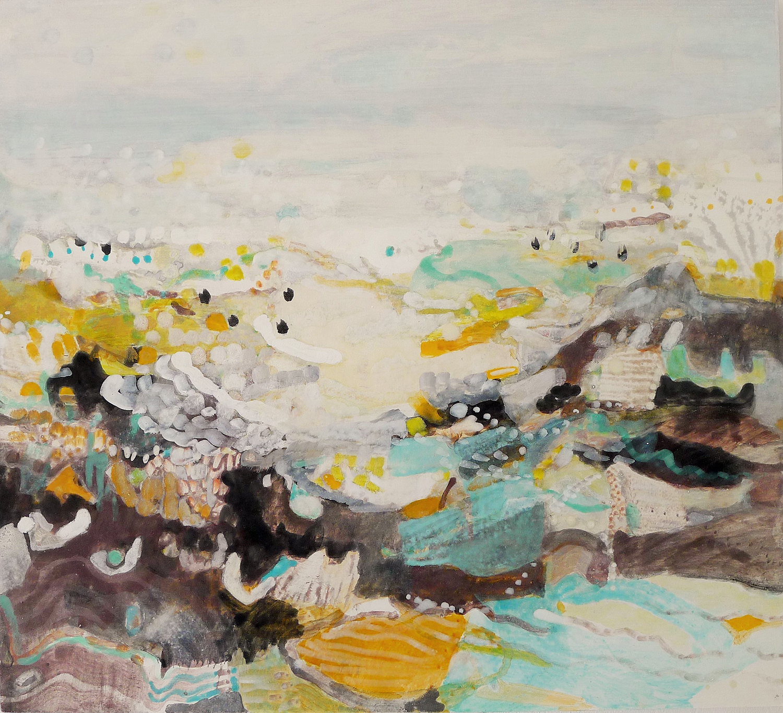 Schilderij in ei-tempera met de titel 'Kwelder en wad 2' door Ilse Brul