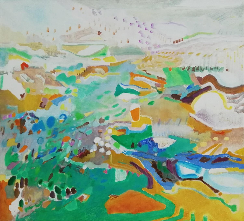 Schilderij in olieverf met de titel 'Landerumerheide Terschelling