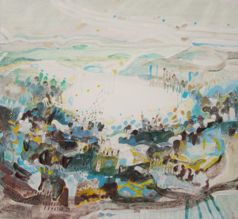 Schilderij in ei-tempera met de titel 'Landerumerheide'