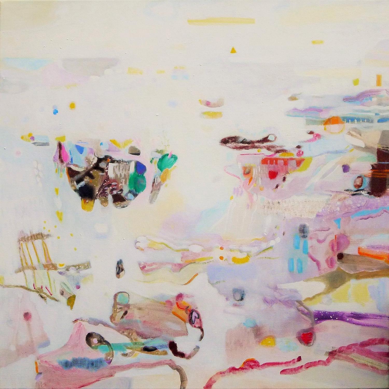 Schilderij in olieverf met de titel 'Wad
