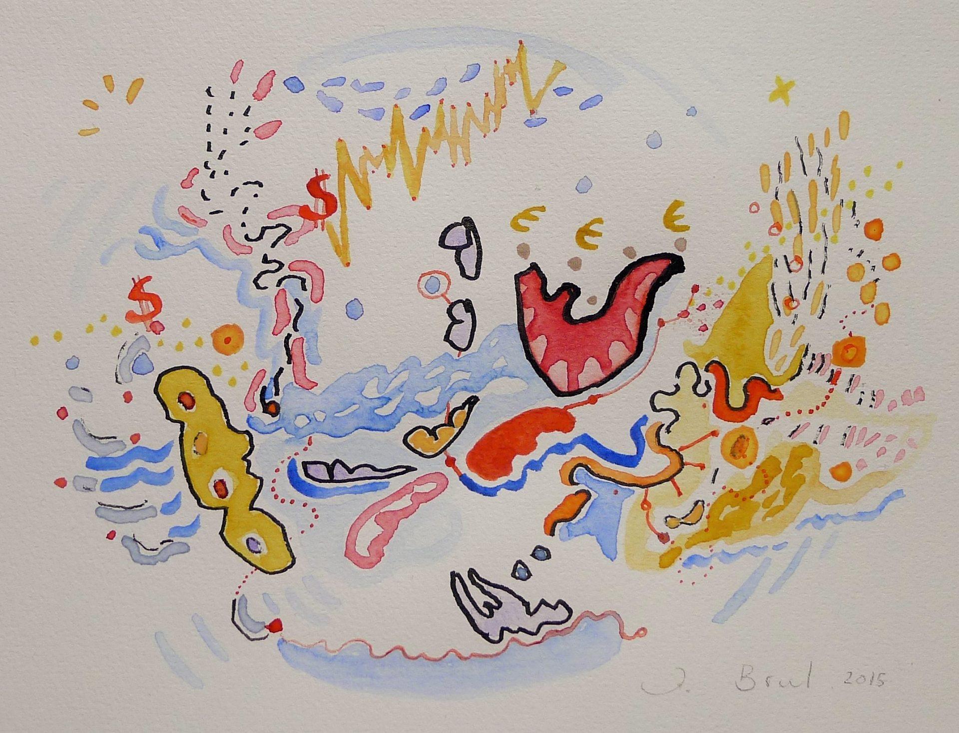 Tekening in inkt en aquarel met de titel 'Wereldeconomie'