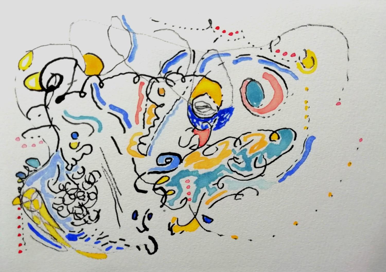 Vrije inkt en aquarel tekening