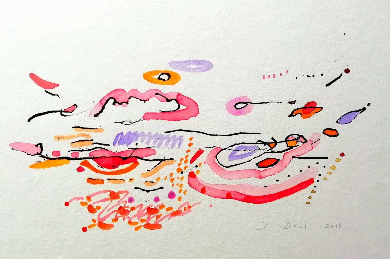 Tekening in inkt en aquarel