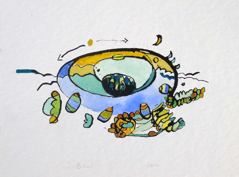 Inkt en Aquarel tekening met de titel 'Eb en vloed'