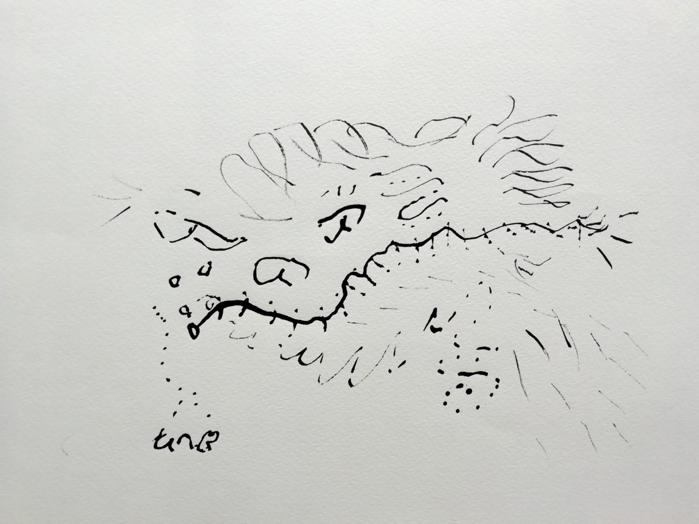 Inkttekening met rietpen