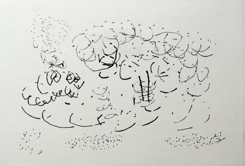 Inkttekening met rietpen door Ilse Brul