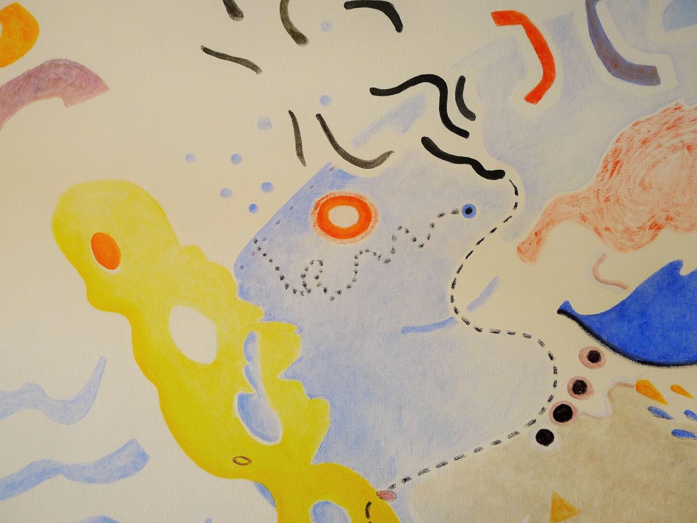 Detail van de muurschildering door Ilse Brul in de entree van het Duisenburgbuilding in Groningen
