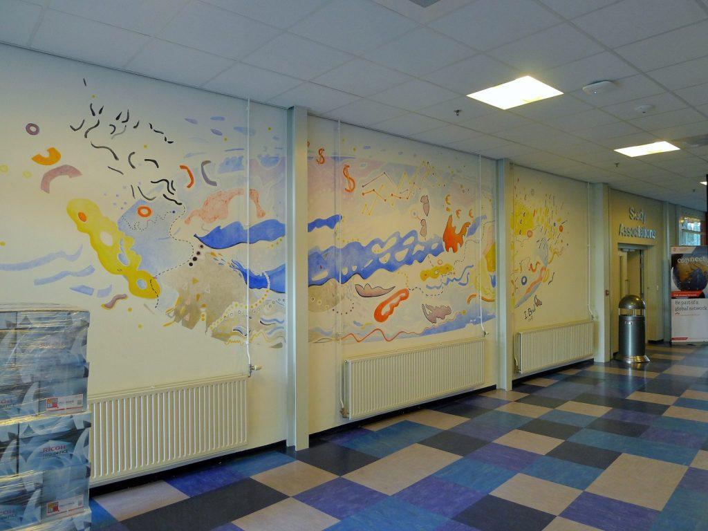 Muurschildering 'Wereldeconomie'9 x 3 meter, Ilse Brul 2017