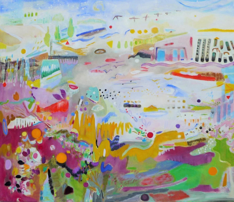 Schilderij in olieverf met de titel 'Bij Winschoterdiep' door Ilse Brul