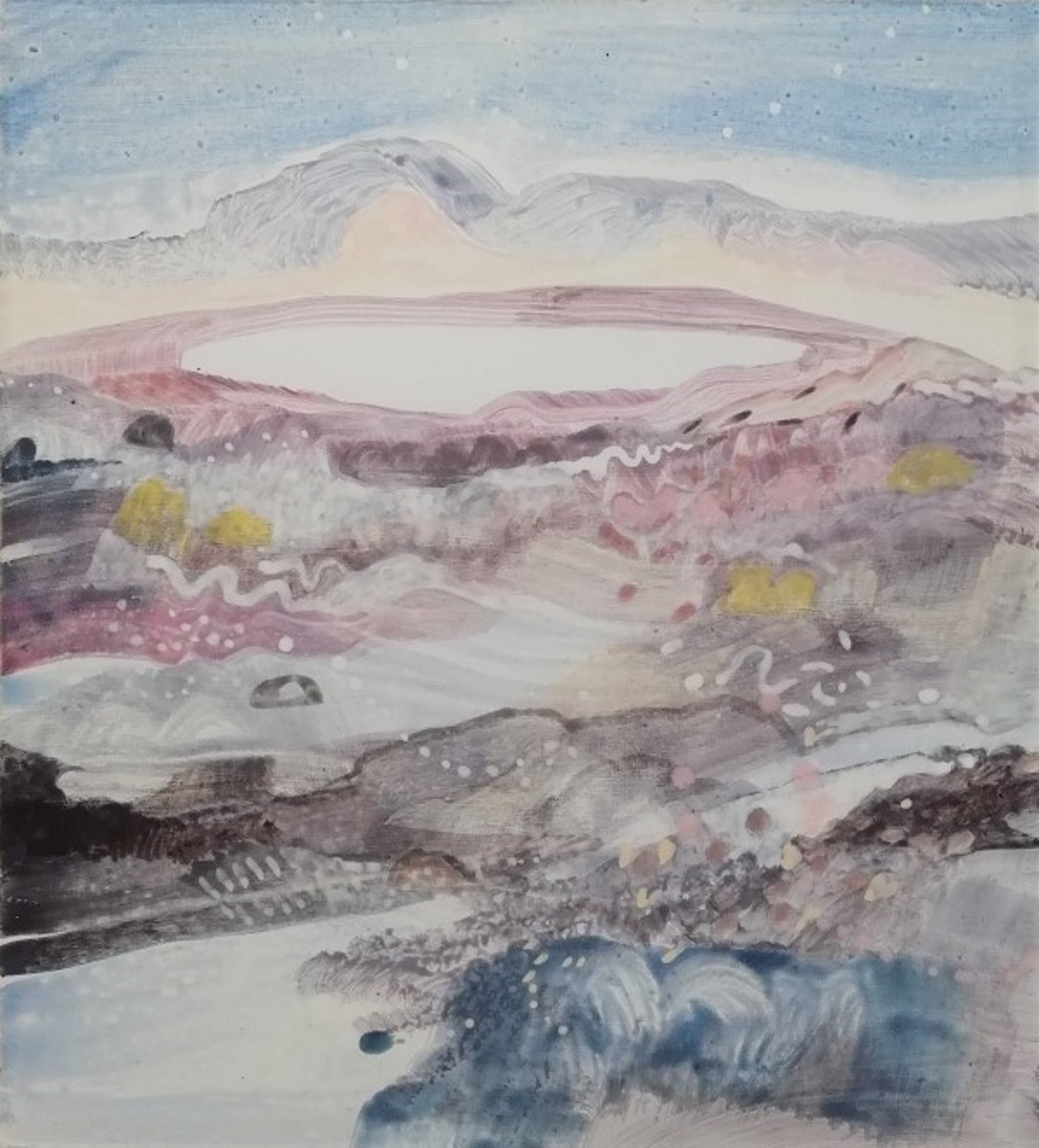 Schilderij in ei-tempera' Bij Landerumerheide' door Ilse Brul
