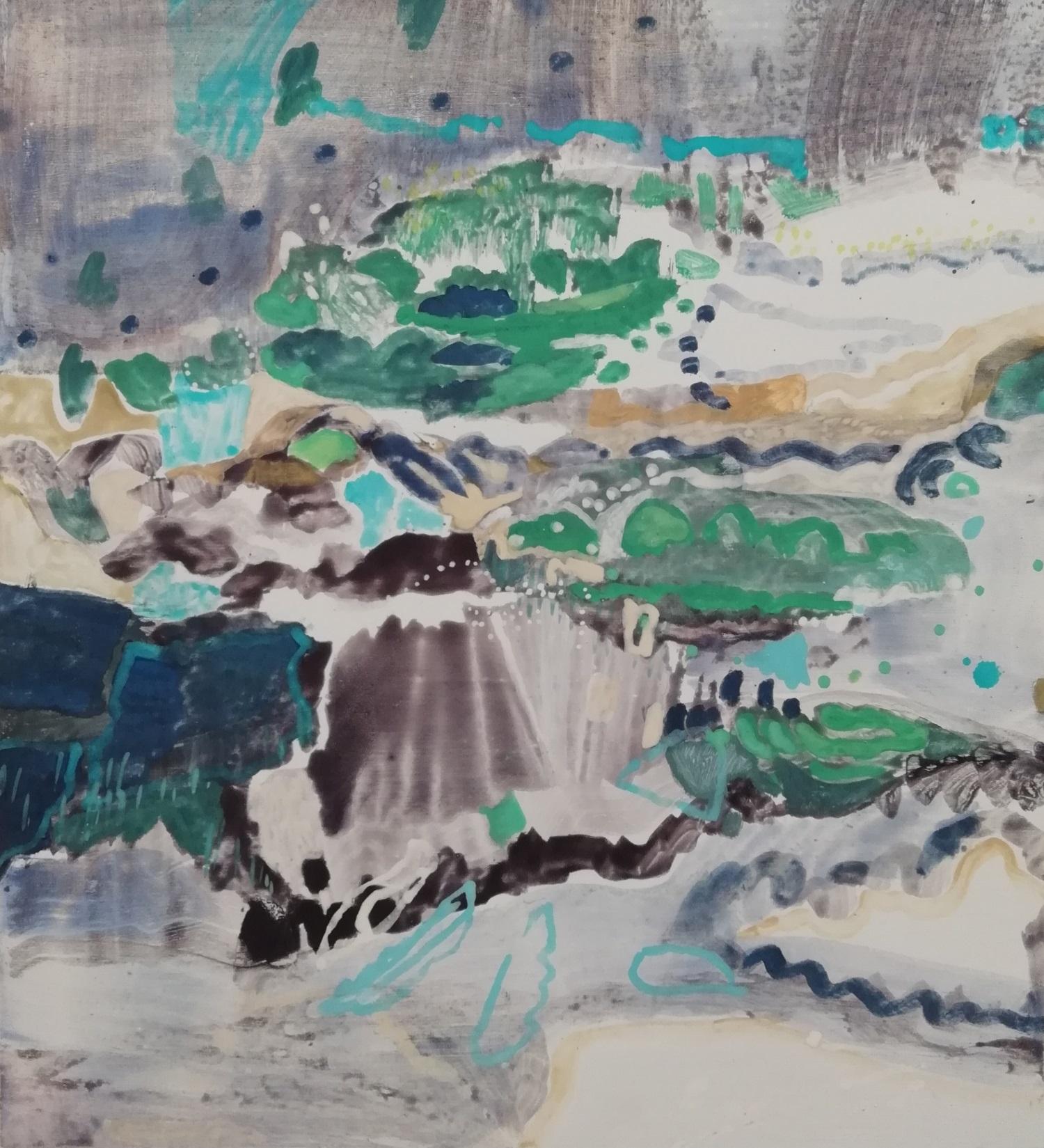 Schilderij in ei-tempera - groen