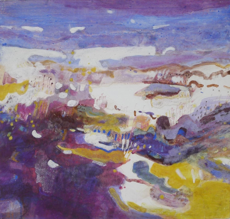 Schilderij 'Duinheide' geschilderd door Ilse Brul