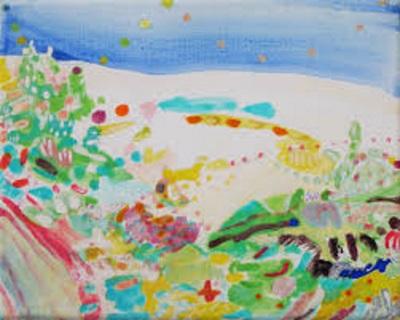 Duinen, geschilderd door Ilse Brul in eitempera