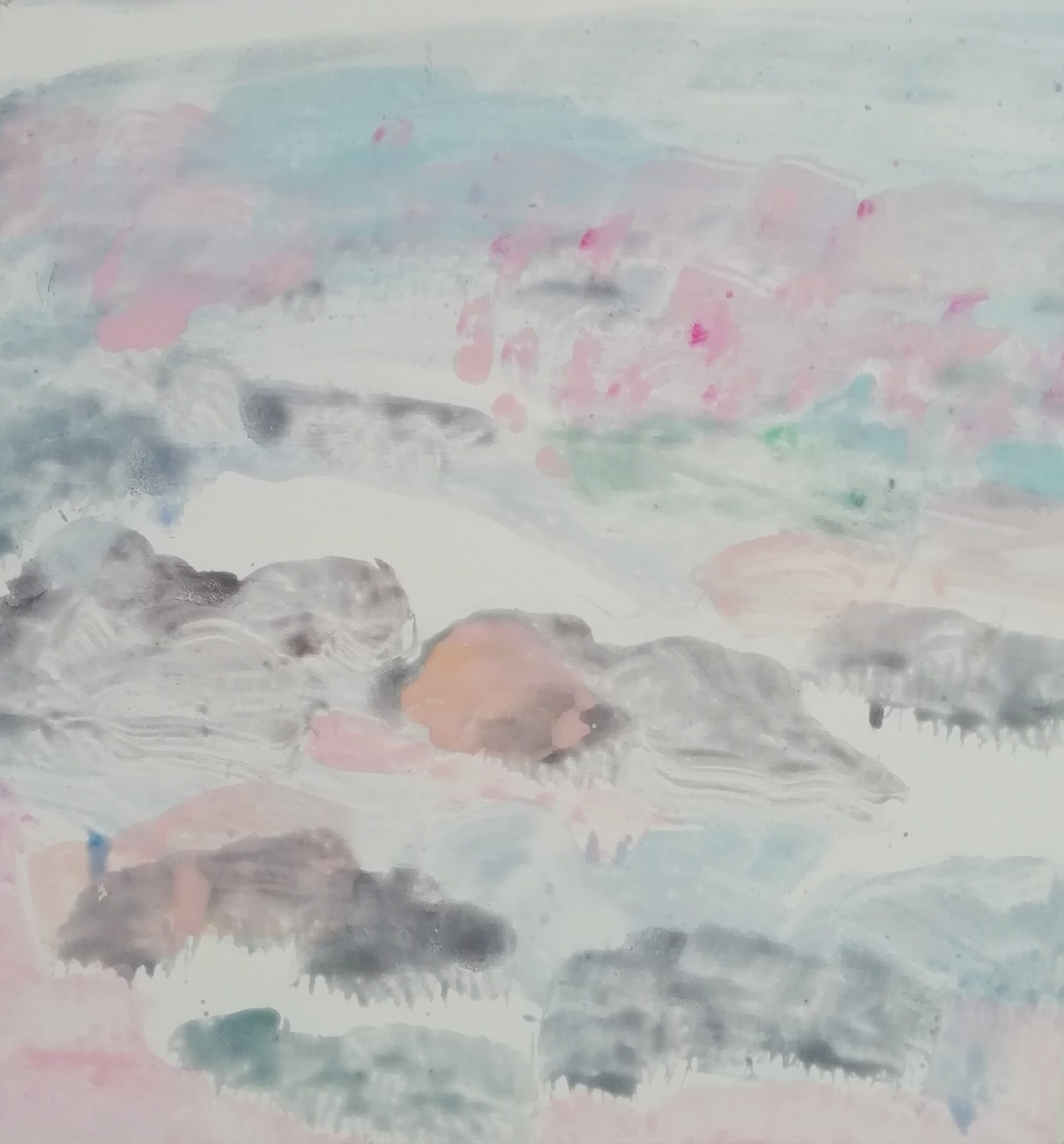 Schilderij Landerumerheide roze, eitempera/paneel